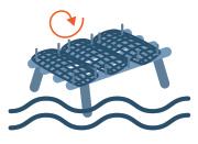 Huitres Thaeron France - Les poches d'huîtres sont ficées sur des tables ostréicoles